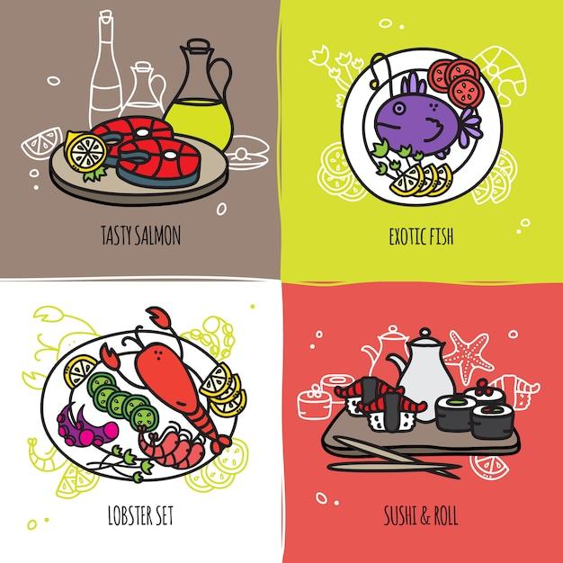 Conjunto de conceito de design de frutos do mar Vetor grátis