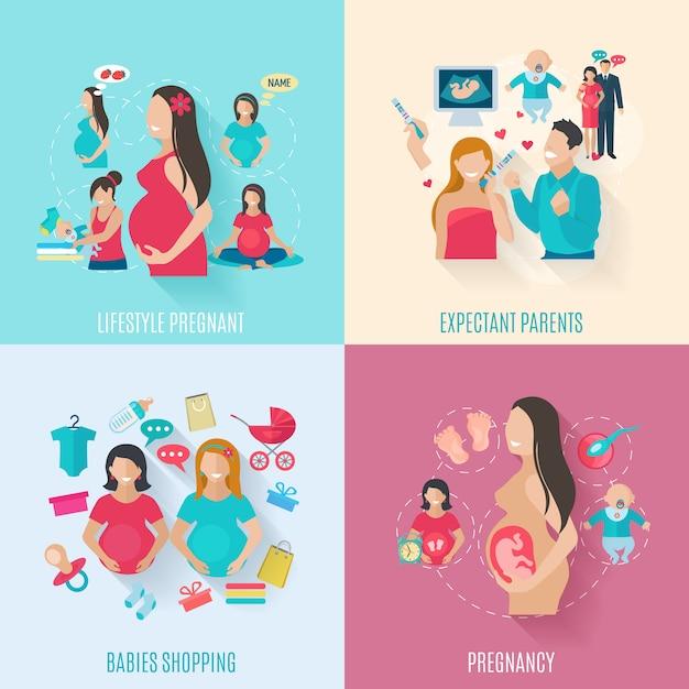 Conjunto de conceito de design de gravidez Vetor Premium