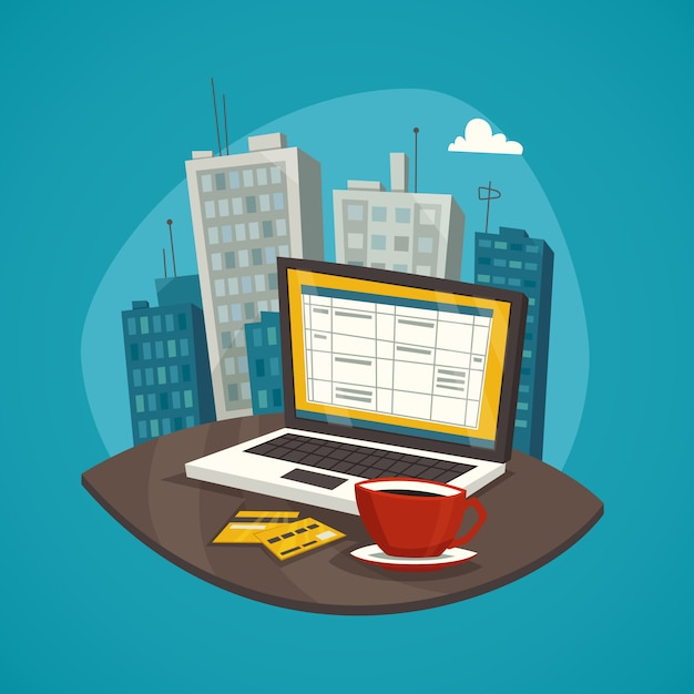 Conjunto de conceito de design de negócios no local de trabalho Vetor grátis