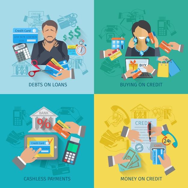Conjunto de conceito de design de vida de crédito Vetor grátis