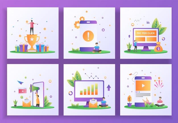 Conjunto de conceito de design plano. programa de recompensa, erro de aplicativo, pagamento por clique, indique um amigo, relatórios de vendas, mídias sociais. Vetor Premium