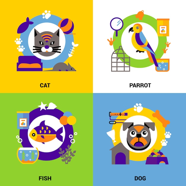 Conjunto de conceito de design veterinário Vetor grátis