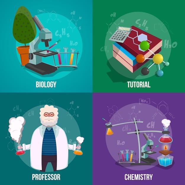Conjunto de conceito de laboratório de química Vetor grátis