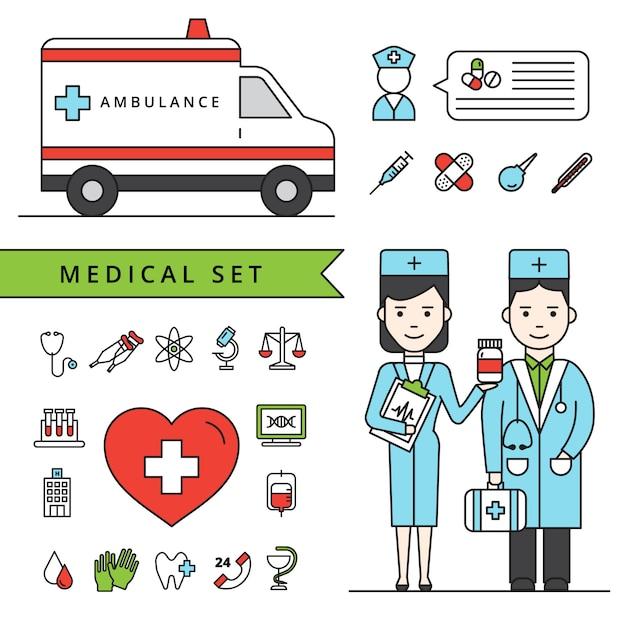 Conjunto de conceito de medicina Vetor grátis