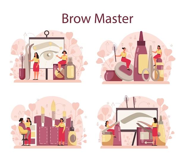 Conjunto de conceito de mestre e designer de sobrancelha. mestre tornando perfeito Vetor Premium