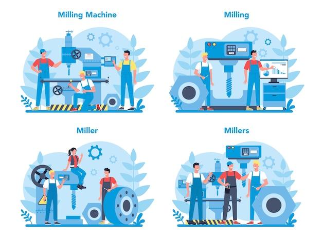 Conjunto de conceito de miller e moagem. engenheiro de perfuração de metal com fresadora, fabricação de detalhes. tecnologia industrial. Vetor Premium