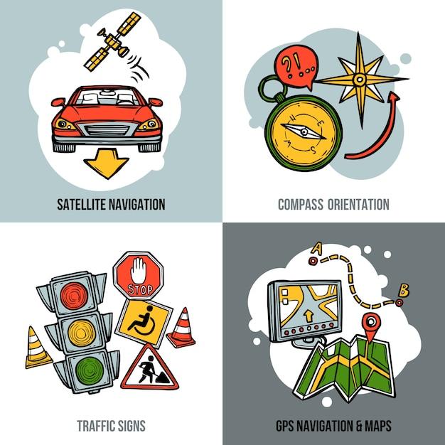 Conjunto de conceito de navegação Vetor grátis