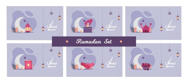 Conjunto de conceito de panfleto bonito ilustração ramadan kareem o mês sagrado festa muçulmana cartão com noite, lanterna, shakehand, datas doces, lua crescente e mesquita. planície Vetor Premium
