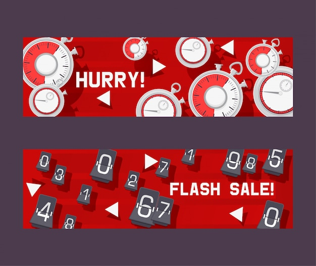 Conjunto de conceito de temporizador de banners pressa para não se atrasar para o desconto na loja ou loja. venda instantânea com contagem regressiva. mudando números. compras coisas. relógio Vetor Premium