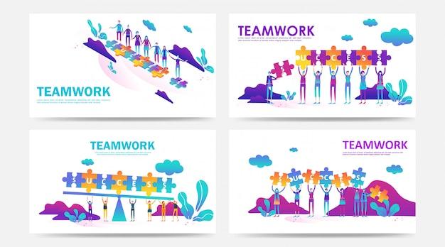 Conjunto de conceito de trabalho em equipe de página de destino e página da web com quebra-cabeça por funcionário da empresa Vetor Premium