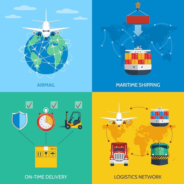 Conjunto de conceito logístico Vetor Premium
