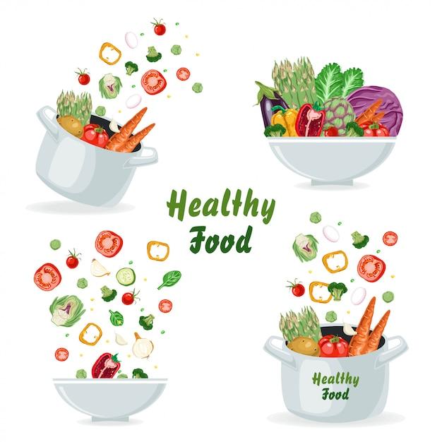 Conjunto de conceitos com legumes Vetor Premium
