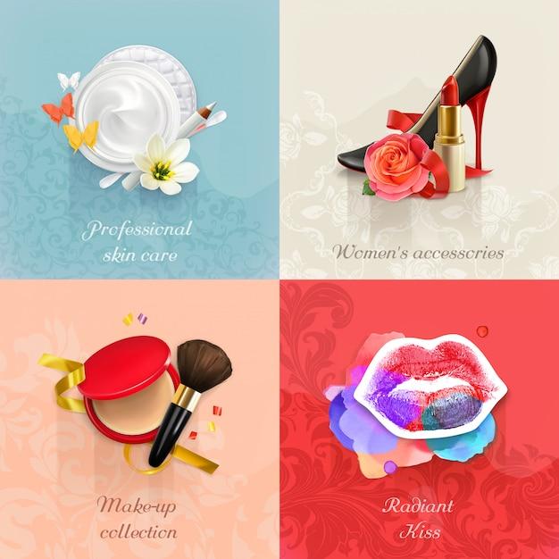 Conjunto de conceitos de beleza e cosméticos s Vetor Premium