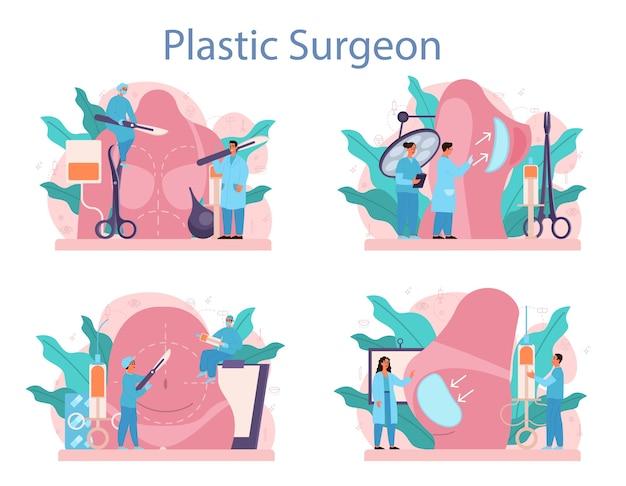 Conjunto de conceitos de cirurgião plástico. idéia de correção corporal. implante e lipoaspiração hospitalar e procedimento anti-envelhecimento. Vetor Premium