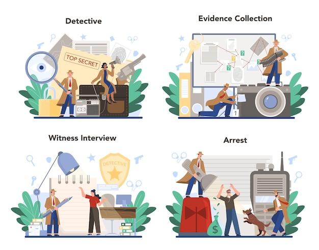 Conjunto de conceitos de detetive profissional Vetor Premium