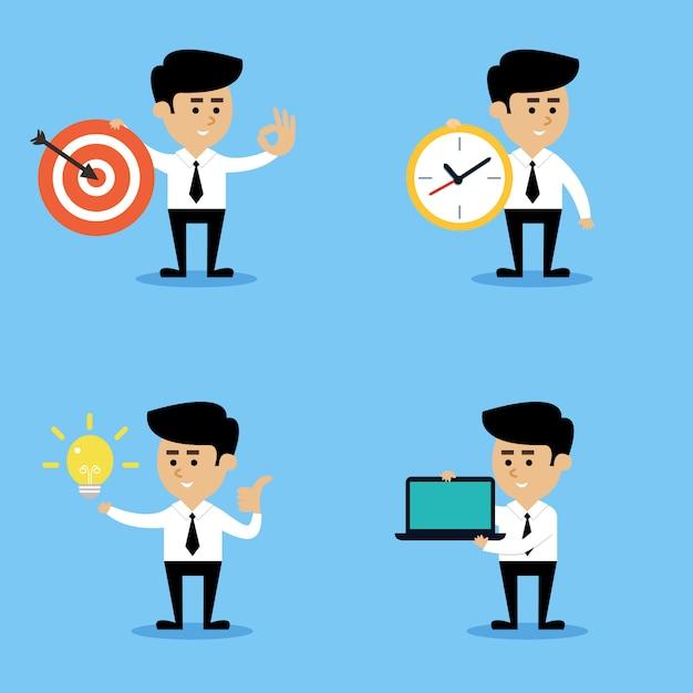 Conjunto de conceitos de empresário Vetor grátis