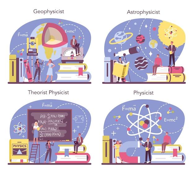 Conjunto de conceitos de físico. os cientistas exploram eletricidade, magnetismo, ondas de luz e forças. geofísico, astrofísico, estudo teórico e prático. ilustração vetorial isolada Vetor Premium