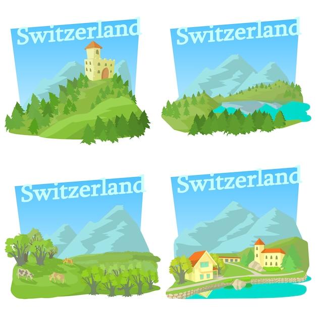 Conjunto de conceitos de viagens suíça Vetor Premium