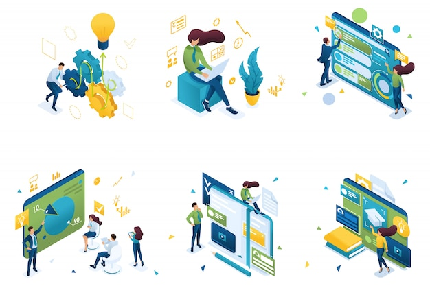 Conjunto de conceitos isométricos sobre o tema do treinamento, treinamento de negócios, sistema de educação. Vetor Premium