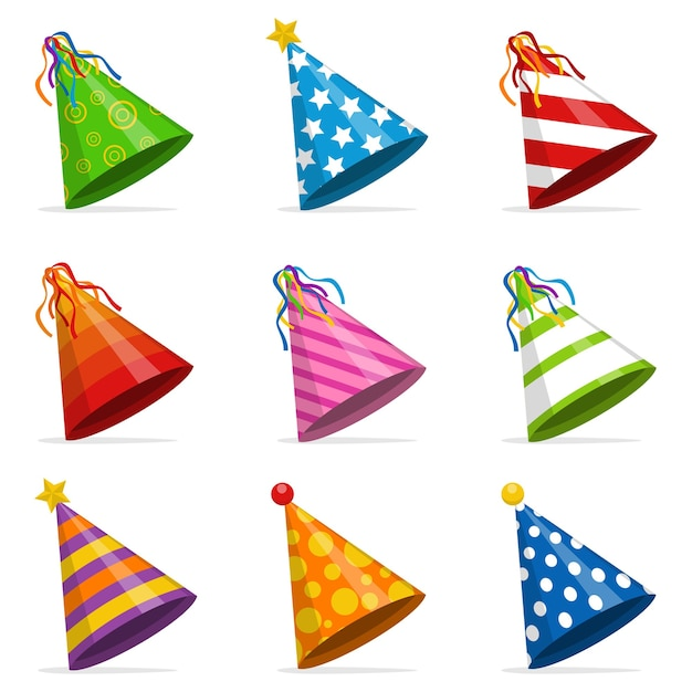 Conjunto de cones de chapéus de festa coloridos isolado. acessório, símbolo do feriado. conjunto de tampas de aniversário. Vetor Premium