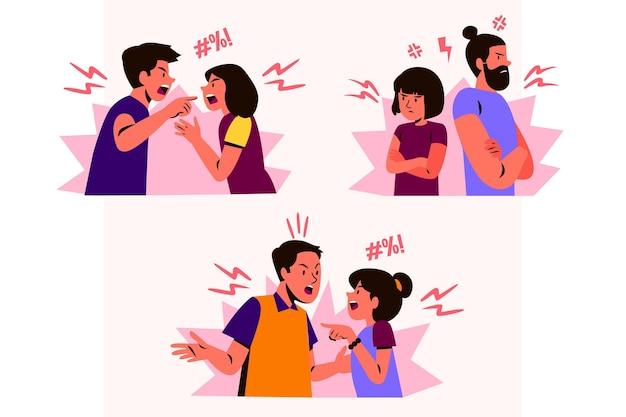 Conjunto de conflitos de casal Vetor grátis