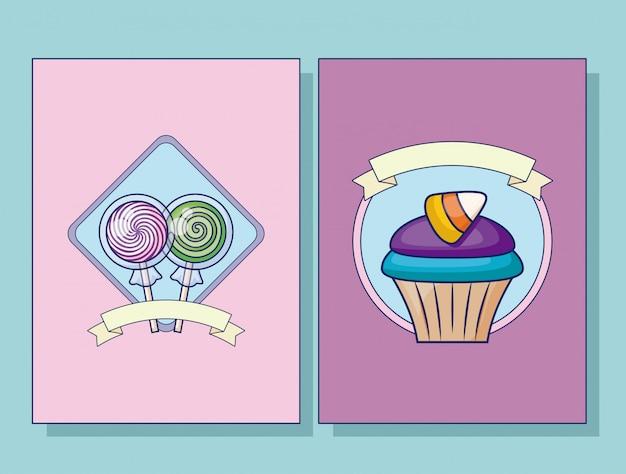 Conjunto de conjunto de cartão de pirulitos doces e cupcake Vetor grátis
