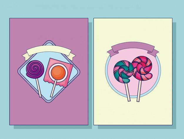 Conjunto de conjunto de cartão de pirulitos doces Vetor grátis