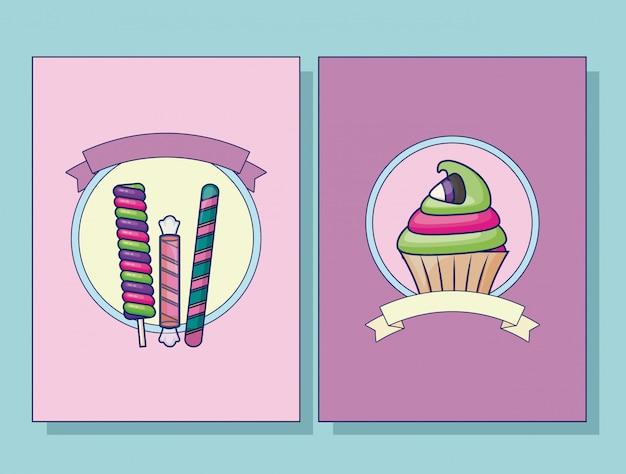 Conjunto de conjunto de cartas de cupcake e doces Vetor grátis