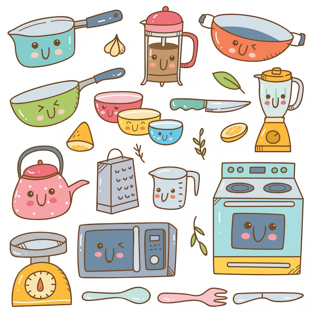 Conjunto de conjunto de equipamentos de cozinha kawaii Vetor Premium