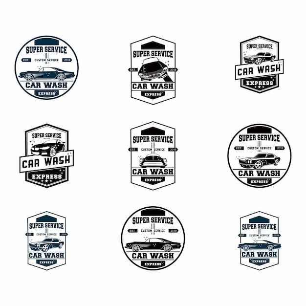 Conjunto de conjunto de logotipo de lavagem de carro Vetor Premium