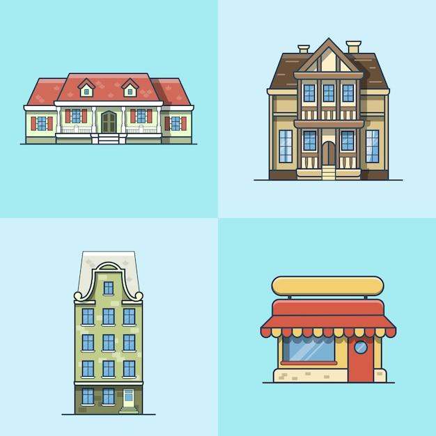 Conjunto de construção de arquitetura de café restaurante de casa de cidade cidade. ícones de estilo simples de contorno de traço linear. coleção de ícone de arte de linha multicolor. Vetor Premium