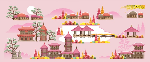 Conjunto de construção de estilo coreano. belas casas e templos em estilo coreano. Vetor Premium