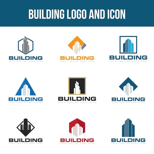 Conjunto de construção de logotipo Vetor Premium