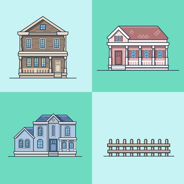 Conjunto de construção de objeto de arquitetura de casa de cidade cidade. ícones de estilo simples de contorno de traço linear. coleção de ícones multicoloridos. Vetor Premium