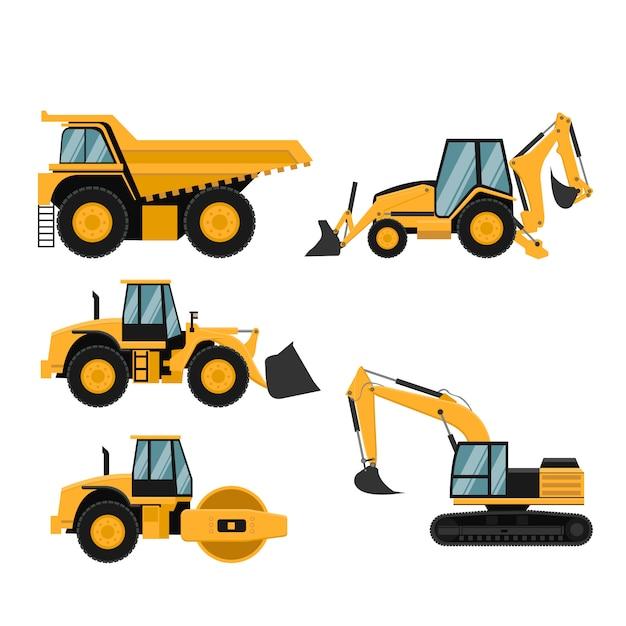 Conjunto de construção pesada e máquinas de mineração Vetor Premium