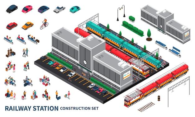 Conjunto de construtor de estação ferroviária Vetor grátis