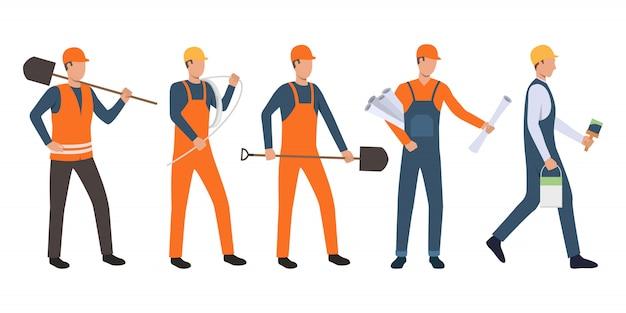 Conjunto de construtores, arquiteto, eletricista, pintor e handymen Vetor grátis