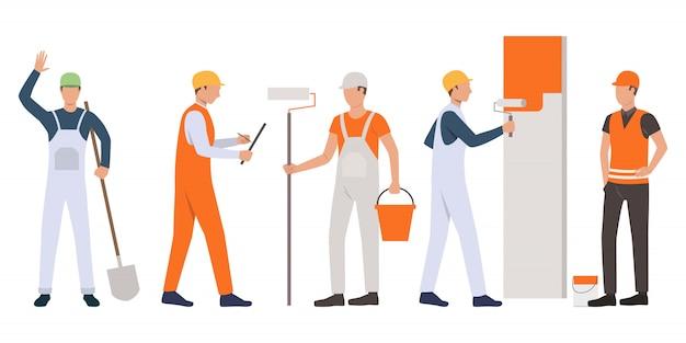 Conjunto de construtores, capataz, pintores e trabalhadores manuais trabalhando Vetor grátis