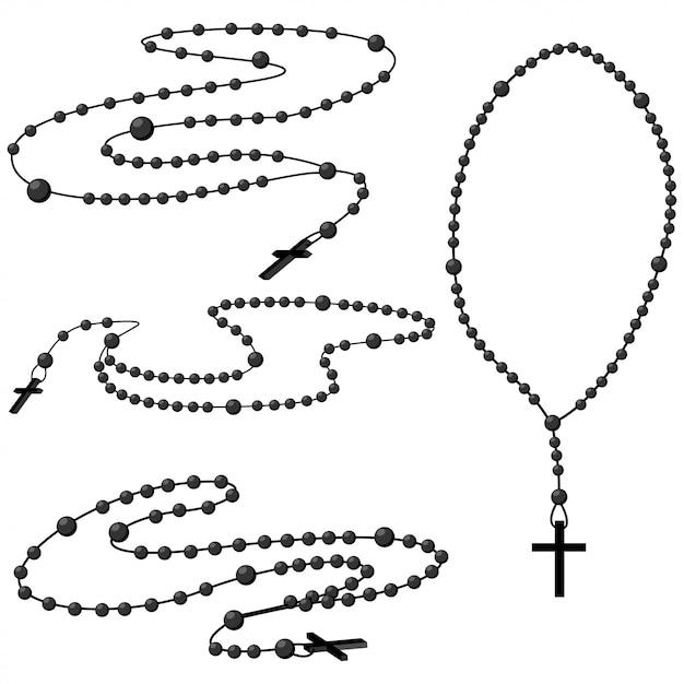 Conjunto de contas do santo rosário. Vetor Premium