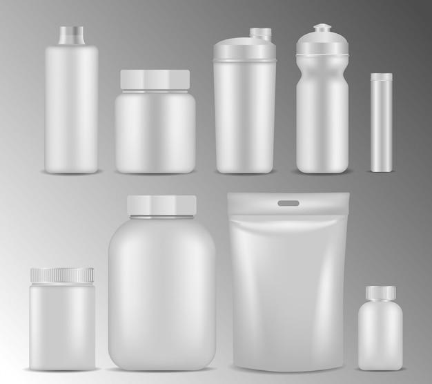Conjunto de contêiner branco de nutrição esportiva Vetor Premium