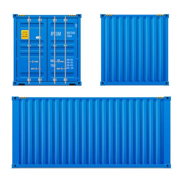 Conjunto de contêiner de carga azul brilhante realista. o conceito de transporte. recipiente fechado. frente, costas e laterais. conjunto de vetores realistas Vetor Premium