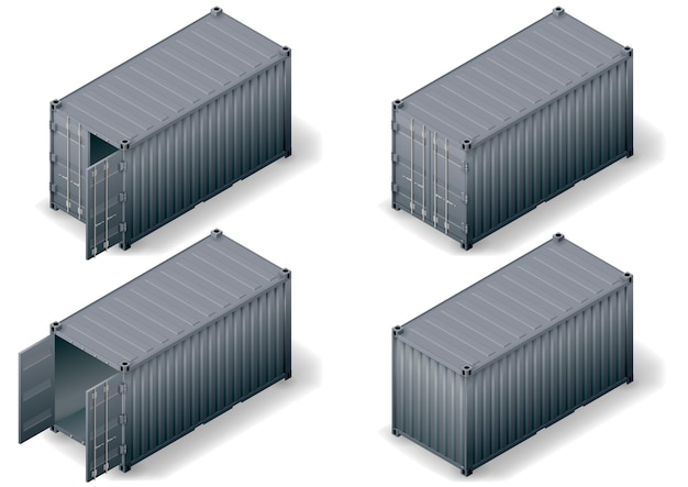 Conjunto de contêiner de carga isométrica Vetor Premium