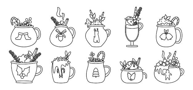 Conjunto de contorno de bebida de caneca de natal. cacau de férias com marshmallows, xícara de chocolate quente ou café de inverno. coleção vintage de ano novo de copo de modelo diferente com ilustração isolada de bengala Vetor Premium