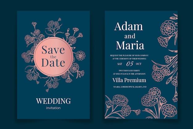 Conjunto de contorno floral clássico mão desenhada design de convite de casamento de luxo Vetor Premium