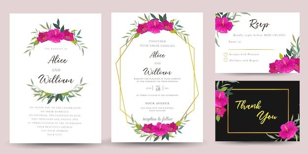 Conjunto de convite de casamento com flores de hibisco Vetor Premium