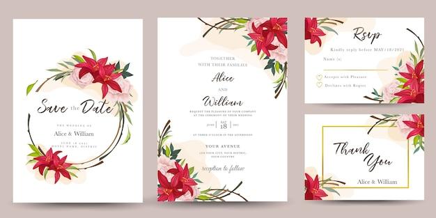 Conjunto de convite de casamento com flores de lírio Vetor Premium