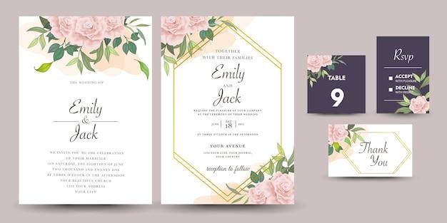 Conjunto de convite de casamento com flores rosas Vetor Premium