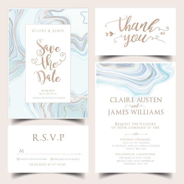Conjunto de convite de casamento de hortelã Vetor Premium