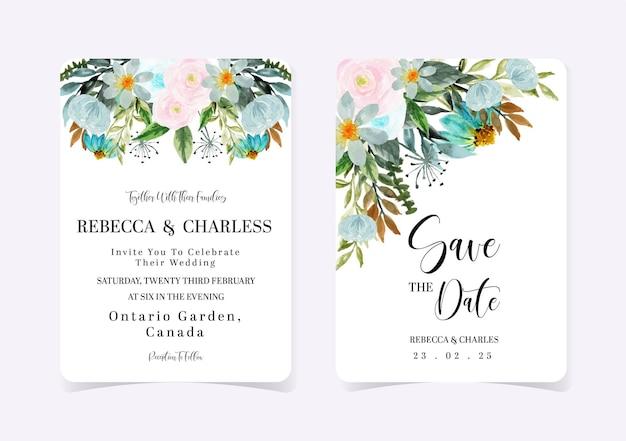 Conjunto de convite de casamento floral rosa e azul Vetor Premium
