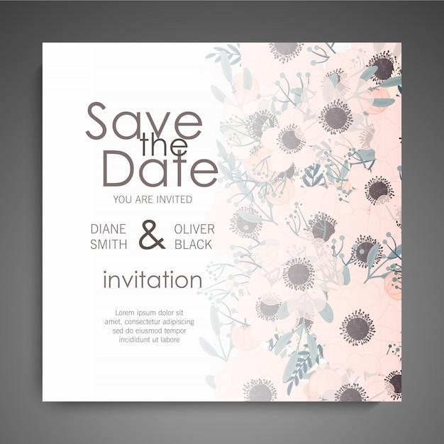 Conjunto de convite de casamento. flores bonitas. cartão de saudação modelo Vetor grátis